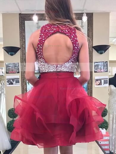 Princess Scoop Neck Organza Short/Mini Beading Prom Dresses #Favs020106377