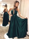 A-line Halter Silk-like Satin Floor-length Sashes / Ribbons Prom Dresses #Favs020106404