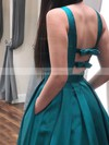 A-line V-neck Satin Floor-length Bow Prom Dresses #Favs020106405