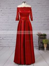 A-line Off-the-shoulder Satin Floor-length Appliques Lace Prom Dresses #Favs020102406