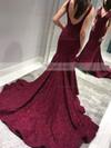 Trumpet/Mermaid V-neck Lace Sweep Train Prom Dresses #Favs020106406