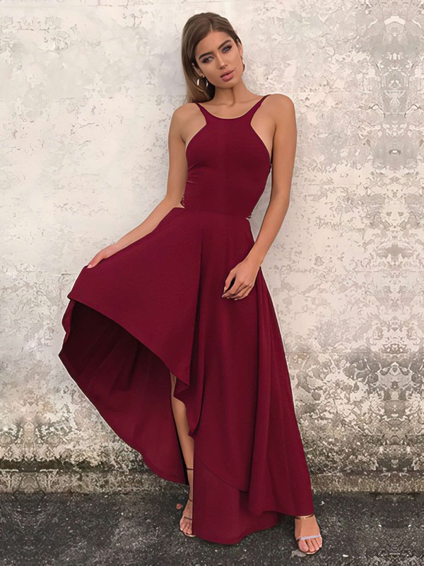A-line Scoop Neck Silk-like Satin Asymmetrical Prom Dresses #Favs020106378
