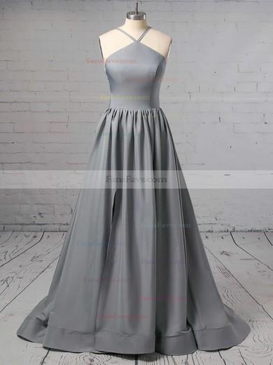 A-line Halter Silk-like Satin Sweep Train Prom Dresses #Favs020106379