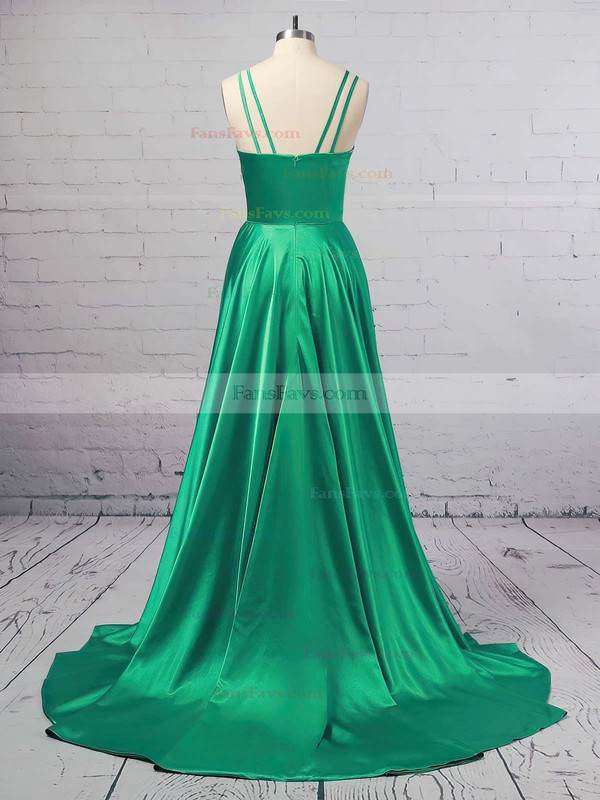 A-line V-neck Silk-like Satin Sweep Train Split Front Prom Dresses #Favs020106381