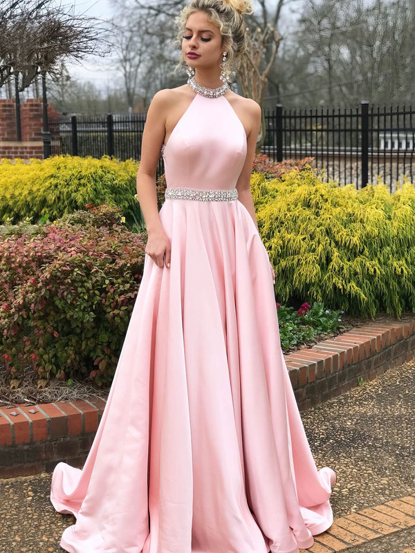 Princess Halter Satin Sweep Train Beading Prom Dresses #Favs020106383