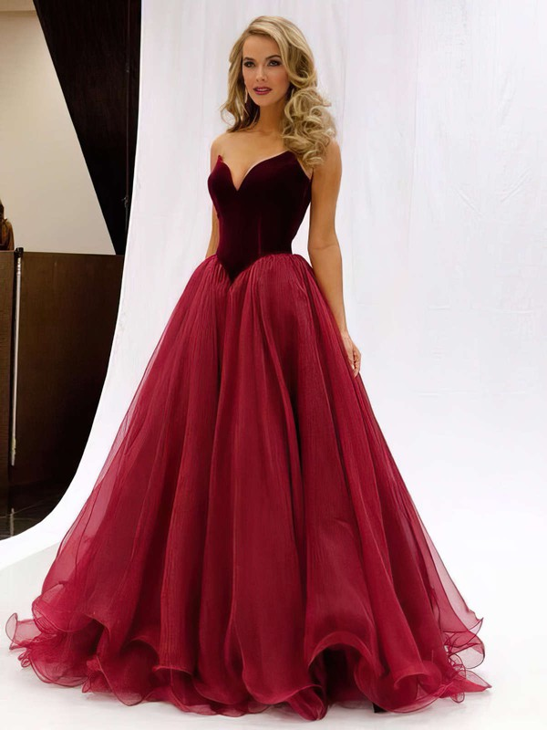 Princess V-neck Floor-length Organza Prom Dresses with Ruffle #Favs020102419