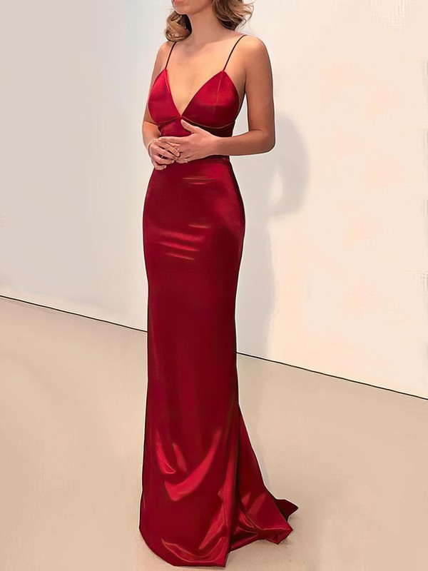 Trumpet/Mermaid V-neck Silk-like Satin Floor-length Buttons Prom Dresses #Favs020106387