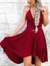 A-line V-neck Silk-like Satin Asymmetrical Prom Dresses #Favs020106388