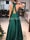 A-line V-neck Satin Floor-length Bow Prom Dresses #Favs020106389