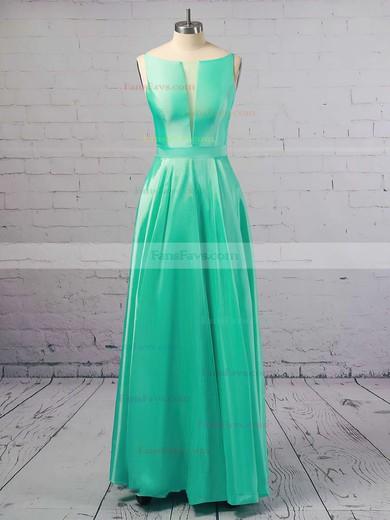 Princess Scoop Neck Satin Floor-length Pockets Prom Dresses #Favs020106390