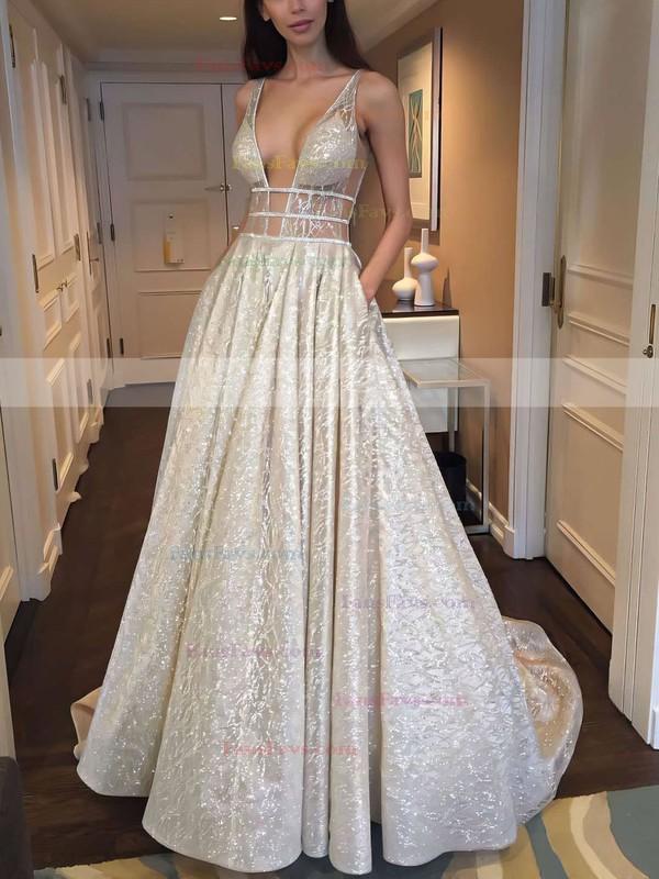 Princess V-neck Lace Sweep Train Pockets Prom Dresses #Favs020106393