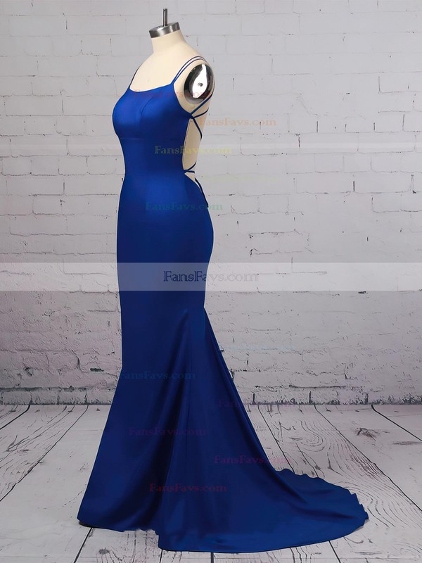 Trumpet/Mermaid Scoop Neck Silk-like Satin Sweep Train Prom Dresses #Favs020106395