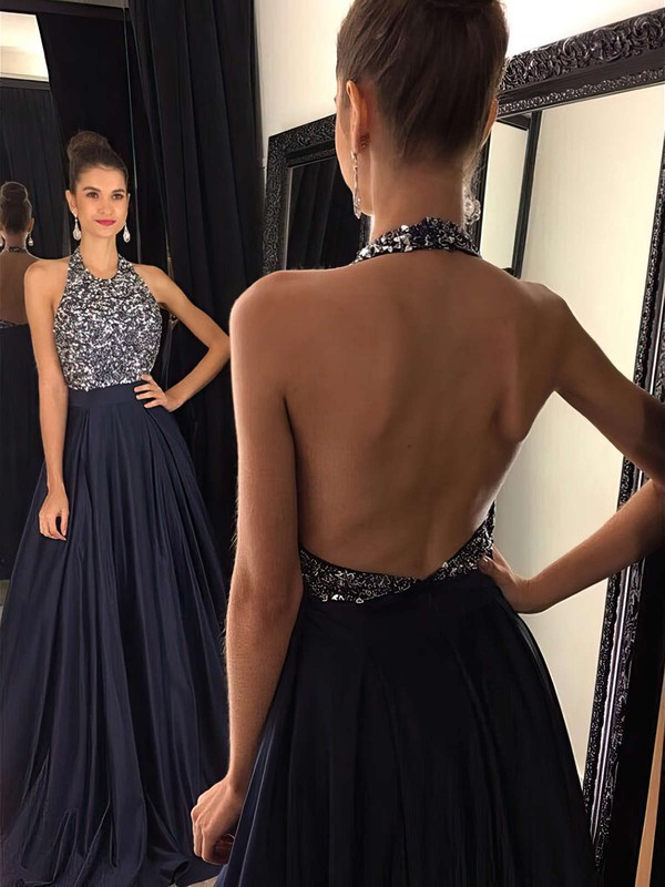 e9884bf9be8 A-line Halter Sweep Train Satin Prom Dresses with Beading  Favs020102435