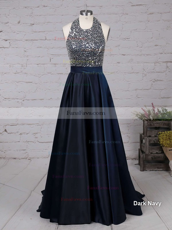 Princess Halter Satin Sweep Train Beading Prom Dresses #Favs020102435