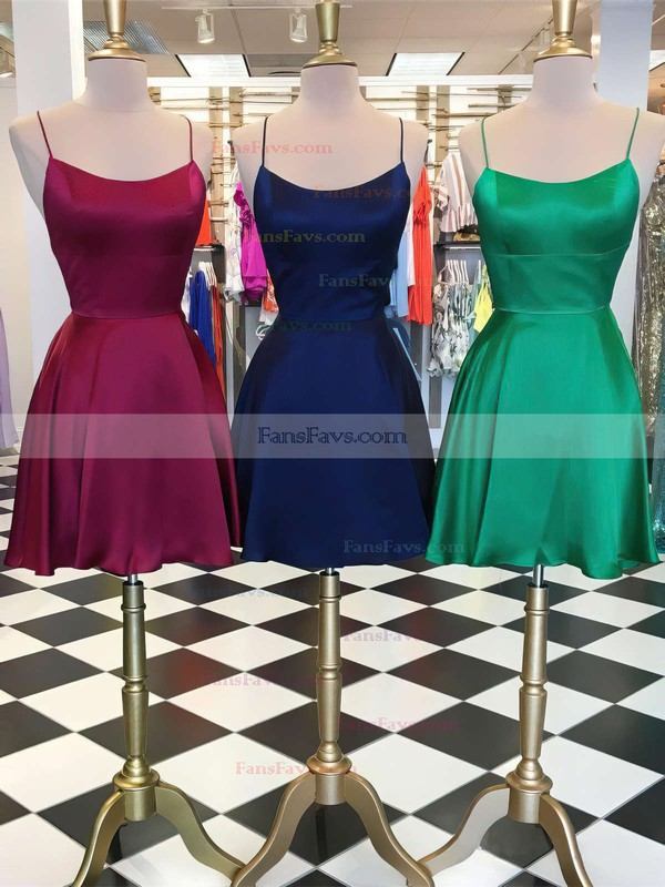 A-line Halter Silk-like Satin Short/Mini Prom Dresses #Favs020106397