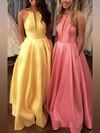 Princess Halter Satin Floor-length Pockets Prom Dresses #Favs020106399