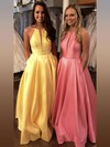 Princess Halter Satin Floor-length Pockets Prom Dresses #Favs020106399