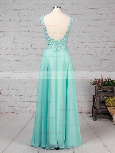 A-line Scoop Neck Chiffon Sweep Train Beading Prom Dresses #Favs020101059
