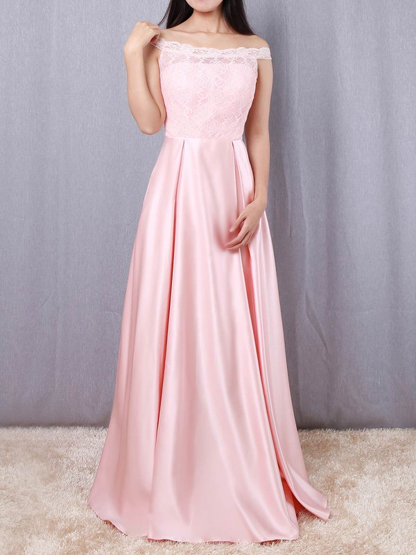 A-line Off-the-shoulder Lace Satin Floor-length Prom Dresses #Favs020105042