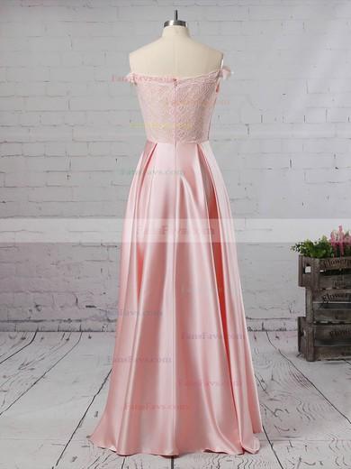 A-line Off-the-shoulder Lace Satin Floor-length Prom Dresses #Favs020105042