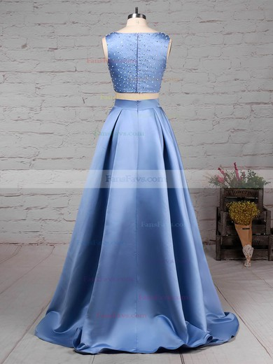 Princess Scoop Neck Satin Floor-length Pockets Prom Dresses #Favs020105049