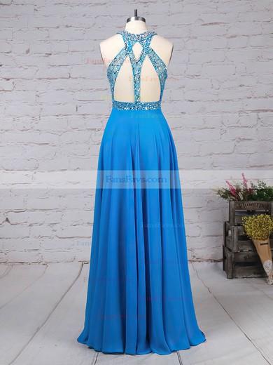 A-line Scoop Neck Chiffon Sweep Train Beading Prom Dresses #Favs020105056