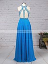 A-line Scoop Neck Chiffon Sweep Train Beading Prom Dresses #Favs020105056
