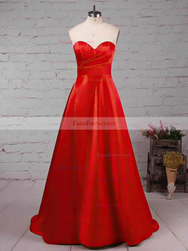 Princess High Neck Satin Sweep Train Beading Prom Dresses #Favs020105066