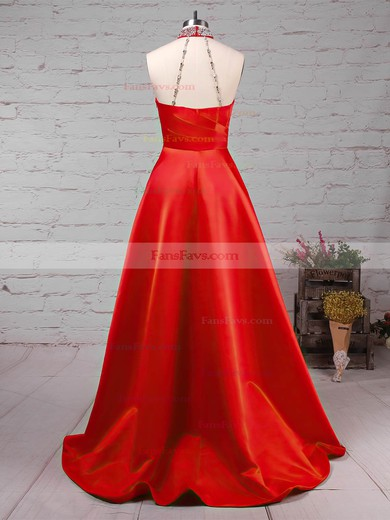 Princess High Neck Satin Sweep Train Beading Prom Dresses #Favs020105066