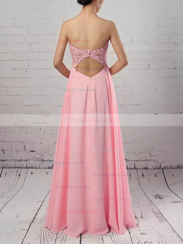 A-line Sweetheart Chiffon Floor-length Appliques Lace Prom Dresses #Favs020105072