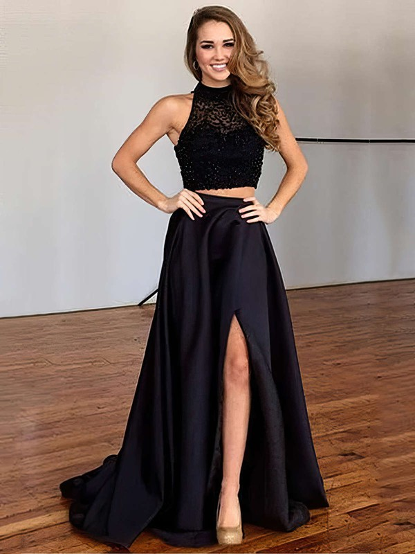 A-line High Neck Sweep Train Satin Tulle Prom Dresses with Beading Split Front #Favs020102482