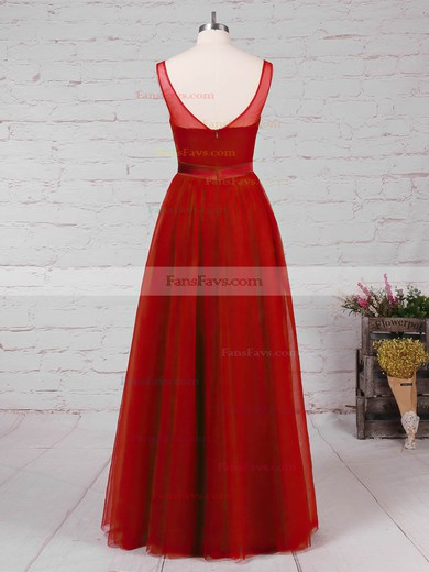 A-line V-neck Tulle Floor-length Appliques Lace Prom Dresses #Favs020105082
