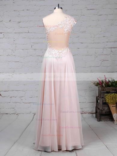 A-line One Shoulder Chiffon Floor-length Appliques Lace Prom Dresses #Favs020105091