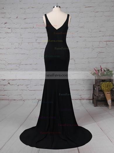 Sheath/Column V-neck Jersey Sweep Train Prom Dresses #Favs020105112