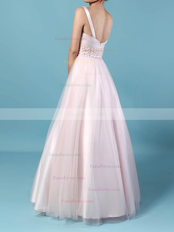Ball Gown V-neck Tulle Floor-length Beading Prom Dresses #Favs020105114