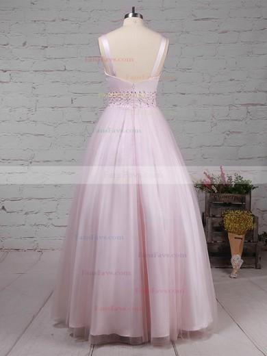 Ball Gown V-neck Tulle Floor-length Beading Prom Dresses #Favs020105114