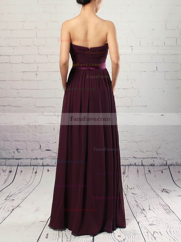 A-line Strapless Chiffon Floor-length Sashes / Ribbons Prom Dresses #Favs020105115