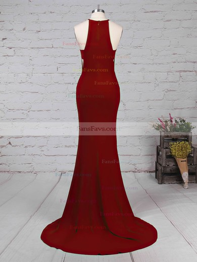 Trumpet/Mermaid Scoop Neck Jersey Sweep Train Split Front Prom Dresses #Favs020105838