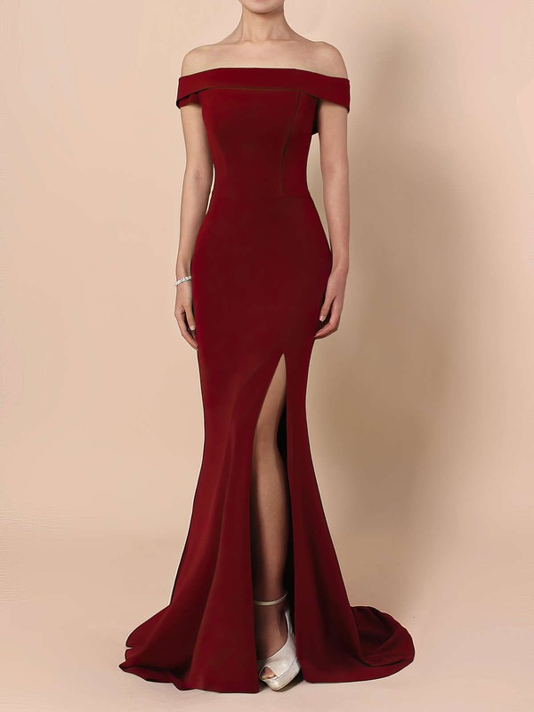 Sheath/Column Off-the-shoulder Jersey Floor-length Split Front Prom Dresses #Favs020105840