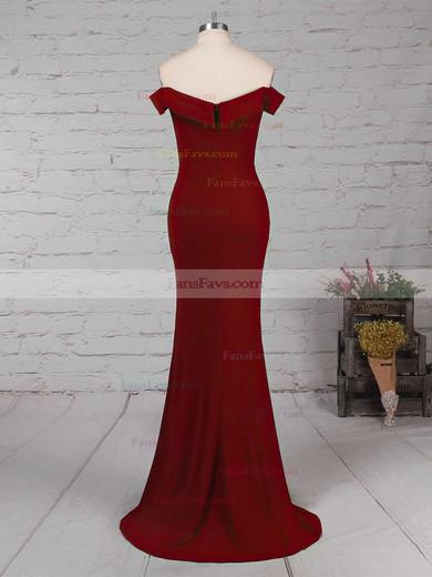 Sheath/Column Off-the-shoulder Jersey Floor-length Split Front Prom Dresses #Favs020105840