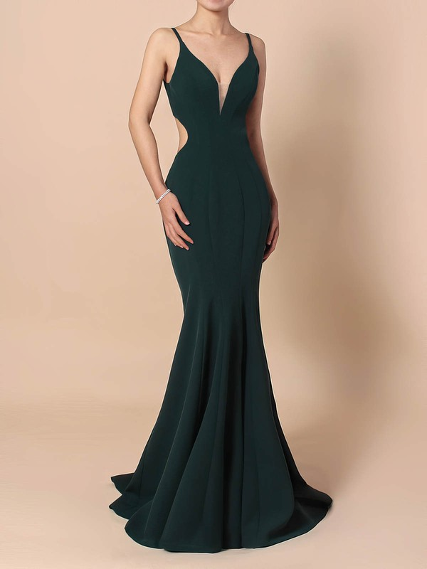 Sheath/Column V-neck Stretch Crepe Sweep Train Prom Dresses #Favs020105843