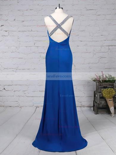 Sheath/Column V-neck Jersey Sweep Train Beading Prom Dresses #Favs020105844
