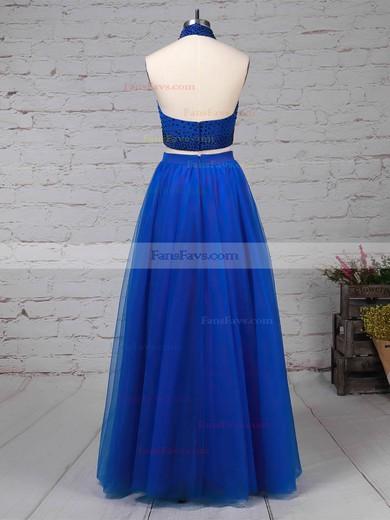 A-line Halter Tulle Floor-length Beading Prom Dresses #Favs020105845