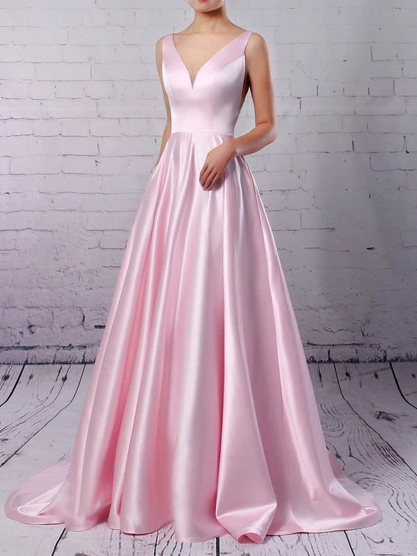 Princess V-neck Satin Sweep Train Pockets Prom Dresses #Favs020105849