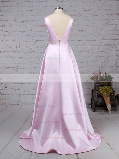 Princess V-neck Satin Sweep Train Pockets Prom Dresses #Favs020105849