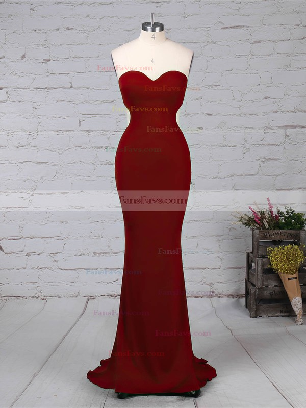 Sheath/Column Sweetheart Jersey Sweep Train Prom Dresses #Favs020105854