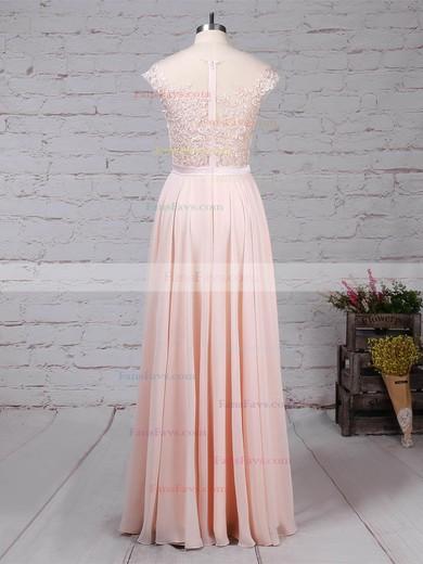 A-line Scoop Neck Chiffon Floor-length Appliques Lace Prom Dresses #Favs020105858