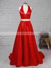 Princess Halter Satin Sweep Train Bow Prom Dresses #Favs020105868