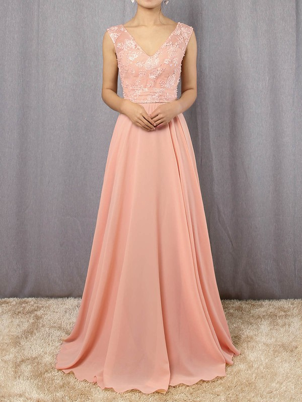A-line V-neck Chiffon Floor-length Appliques Lace Prom Dresses #Favs020105892