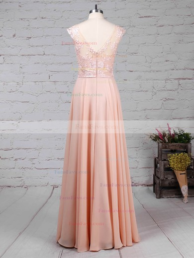 A-line V-neck Chiffon Floor-length Appliques Lace Prom Dresses #Favs020105892